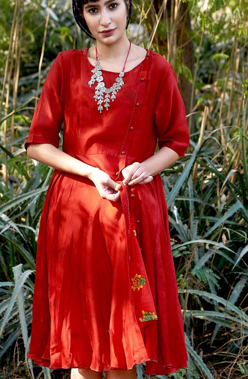 Maia Red Cotton Chanderi Dress