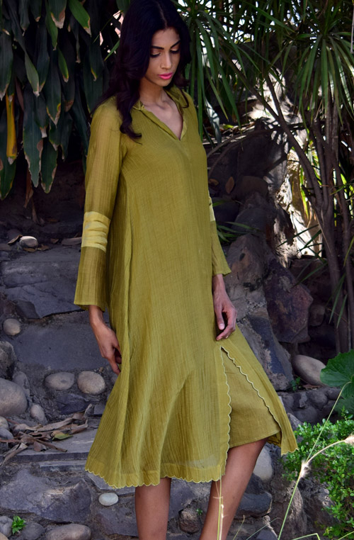 Daiz Muted Green Chanderi Cotton Dress