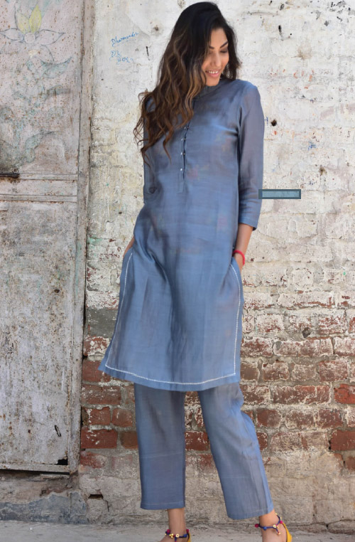 samia grey cotton chanderi kurta pajama set