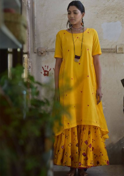 Narangi Yellow Chanderi Cotton Kurta