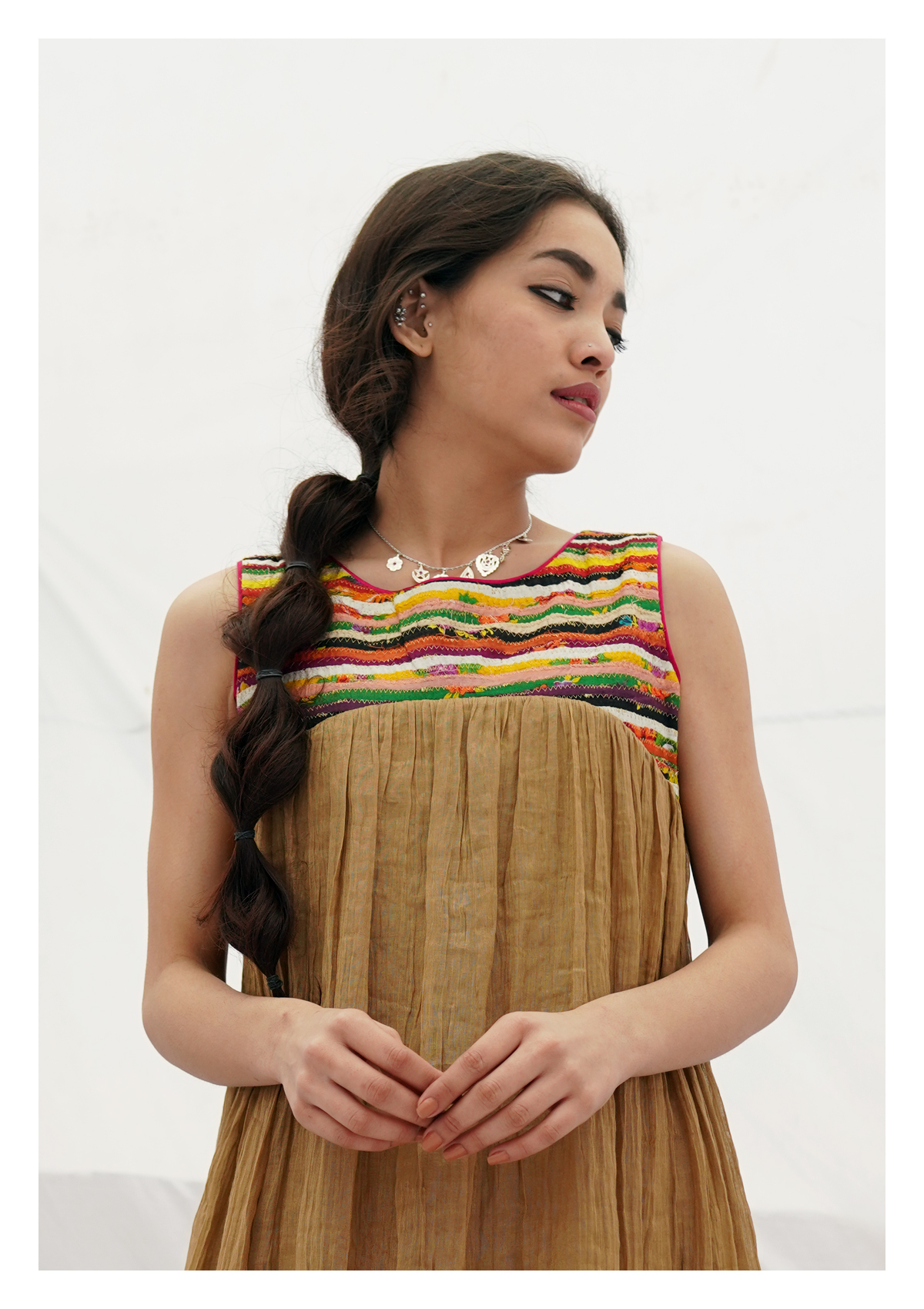 Chapli Camel Tissue Chanderi Dress
