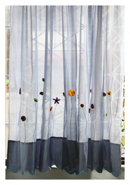 Pushya Grey Sheer Curtain