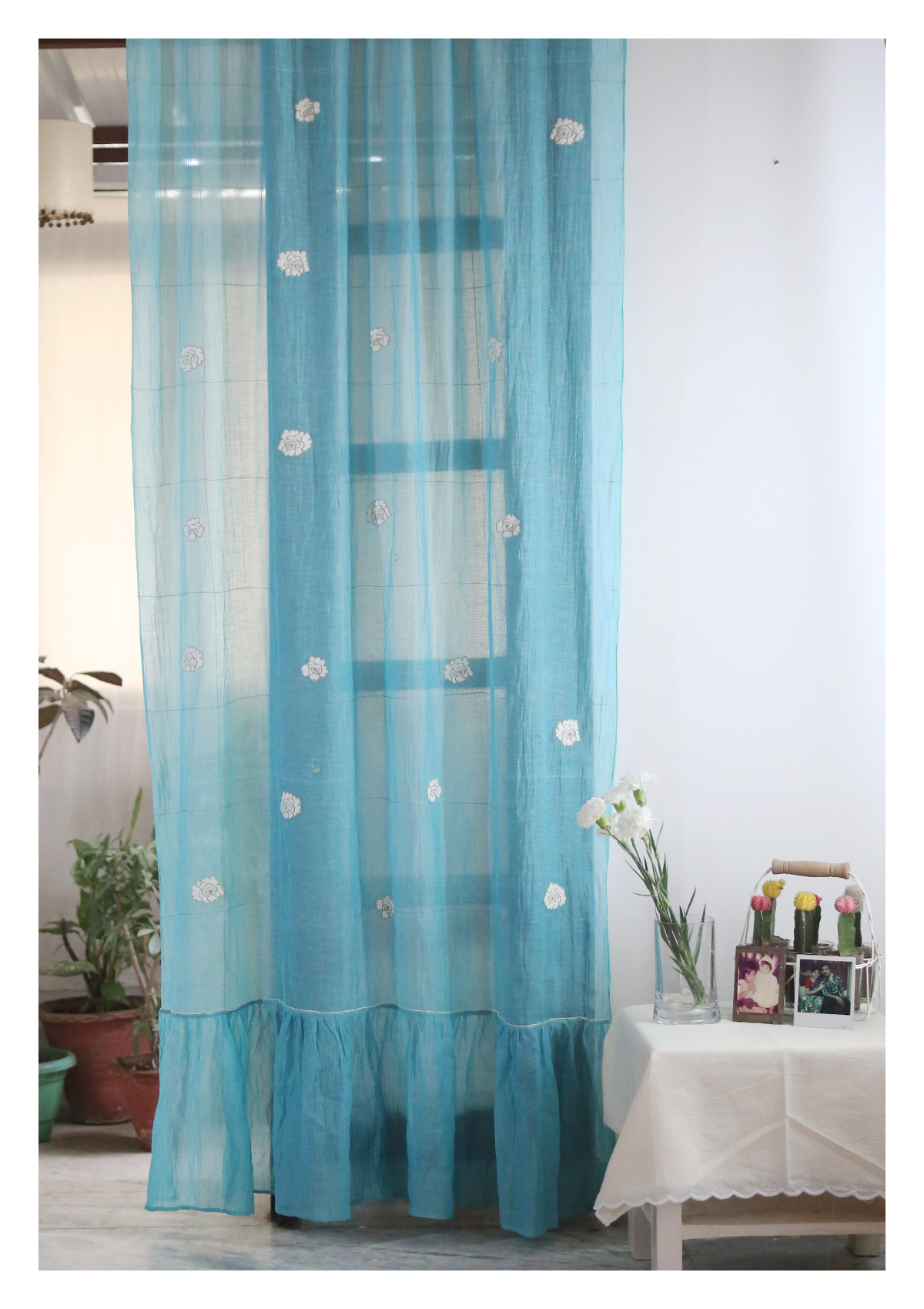Punarvasu Aqua-Teal Sheer Curtains- Set of 2