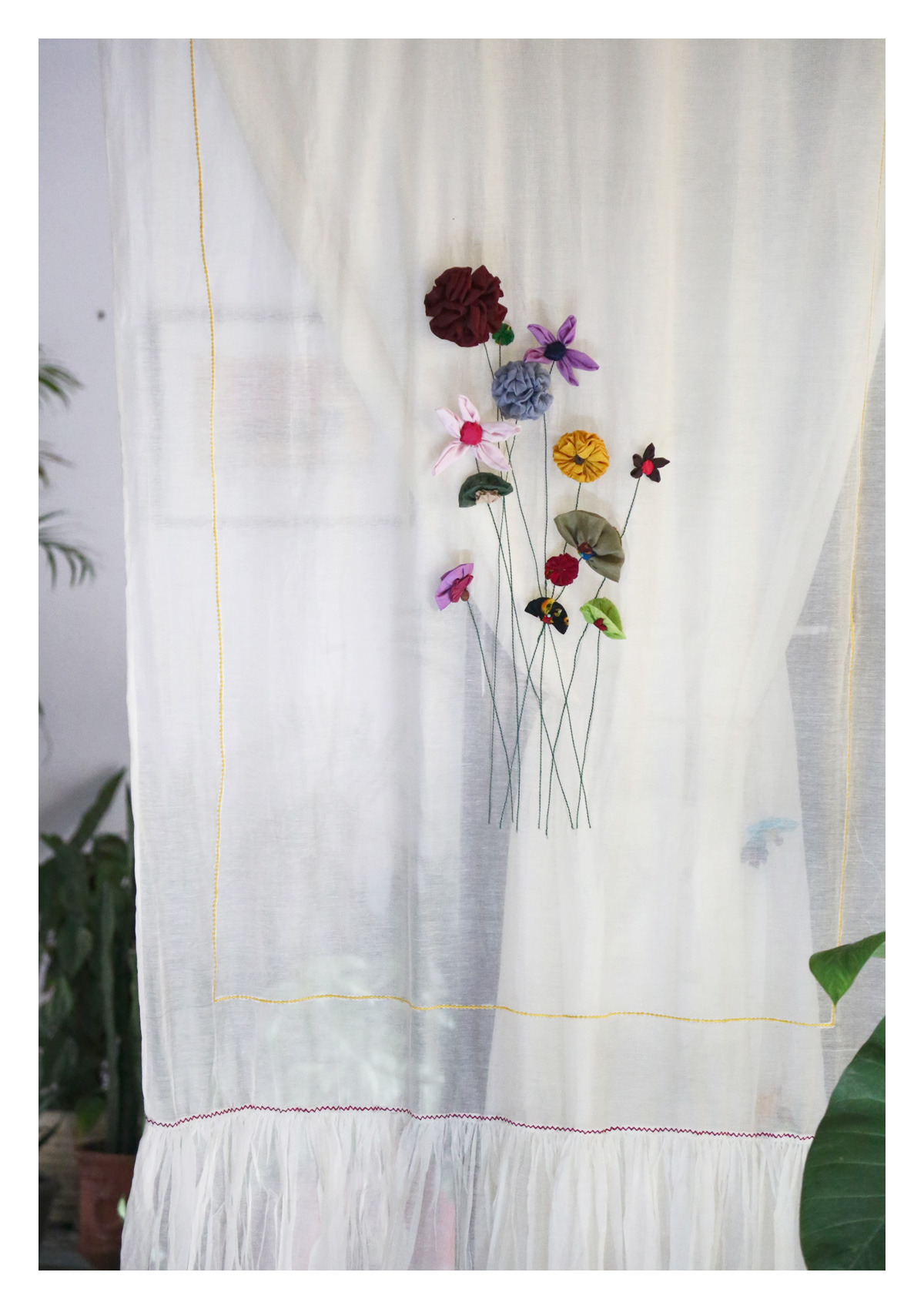 Magha Off-White Layered Curtain