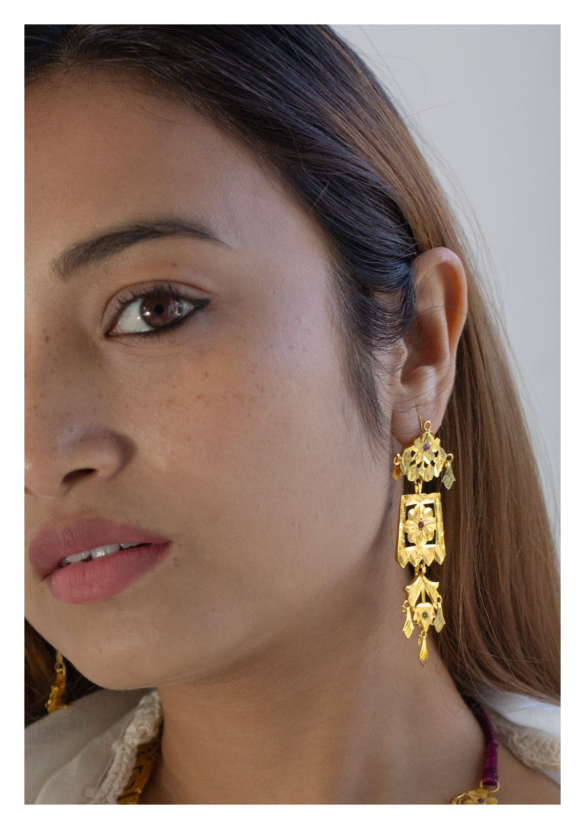 Saaki Handmade Gold Tone Silver Earrings