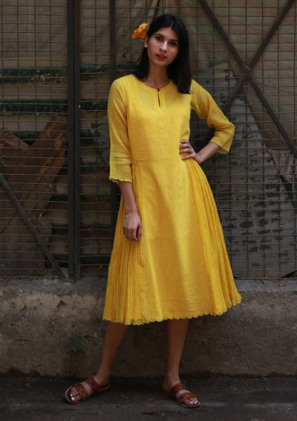 Fina yellow chanderi dress