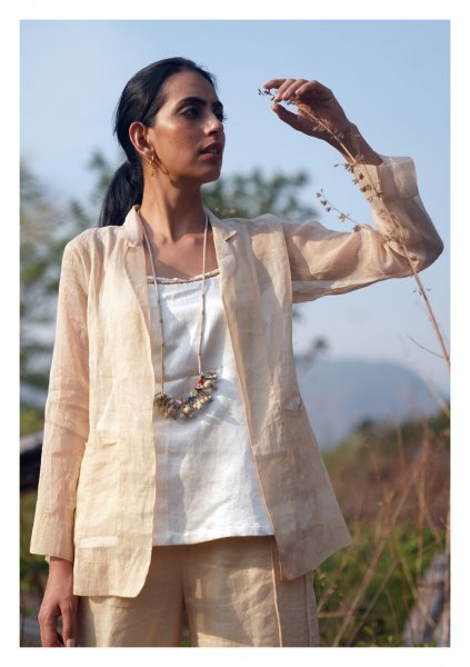 Carnation Ivory Gold Chanderi Jacket