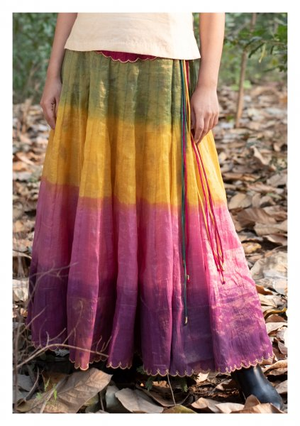 Rainbow Tissue Chanderi Ghagra Skirt