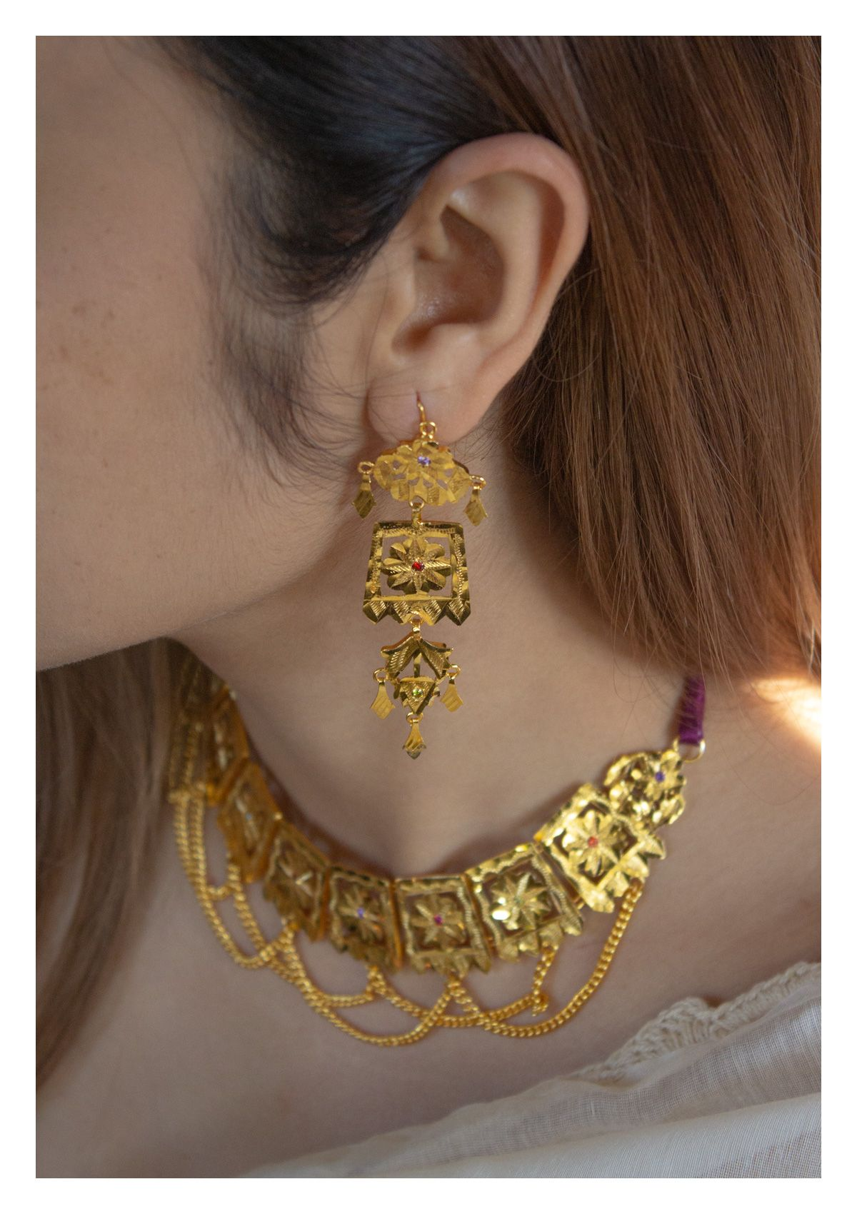 Binari Handmade Gold Tone Silver Necklace and Earrings Set