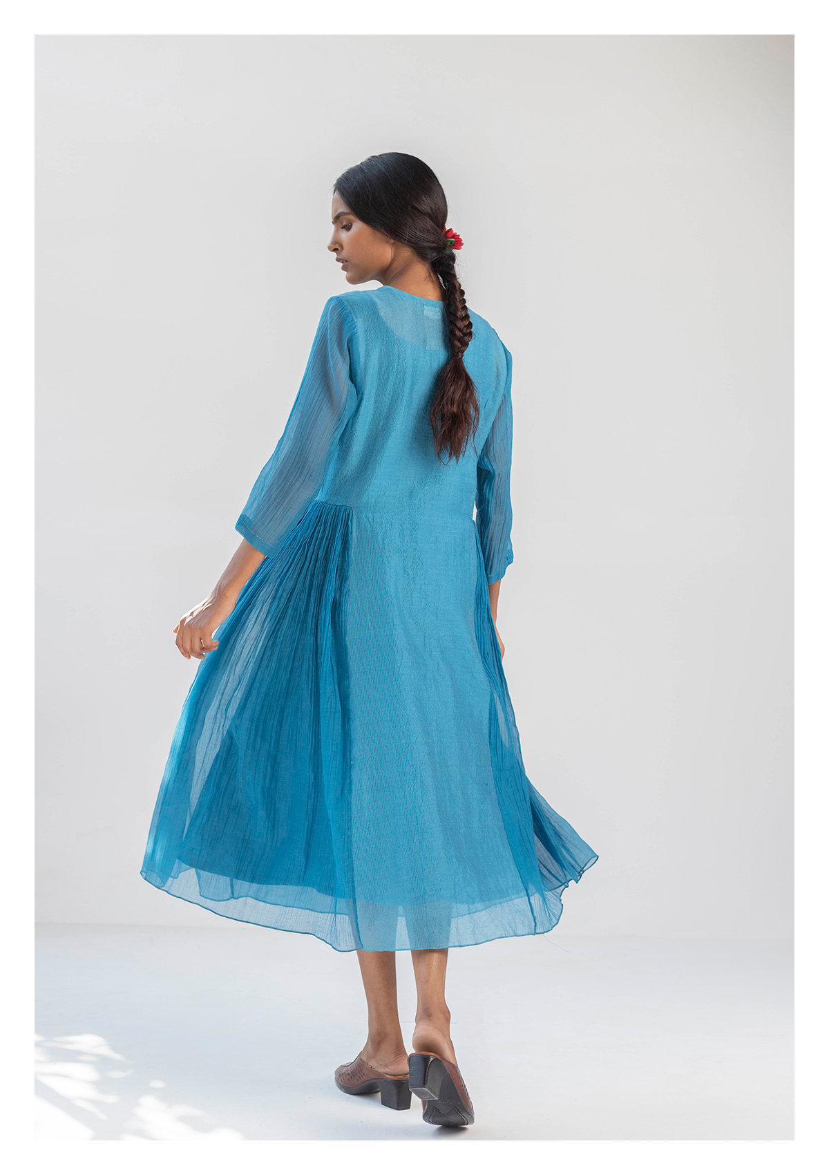 Cihi Blue Chanderi Tissue Dress