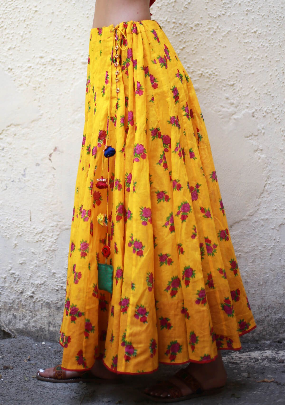 Peela Yellow Kalidaar Cotton Skirt