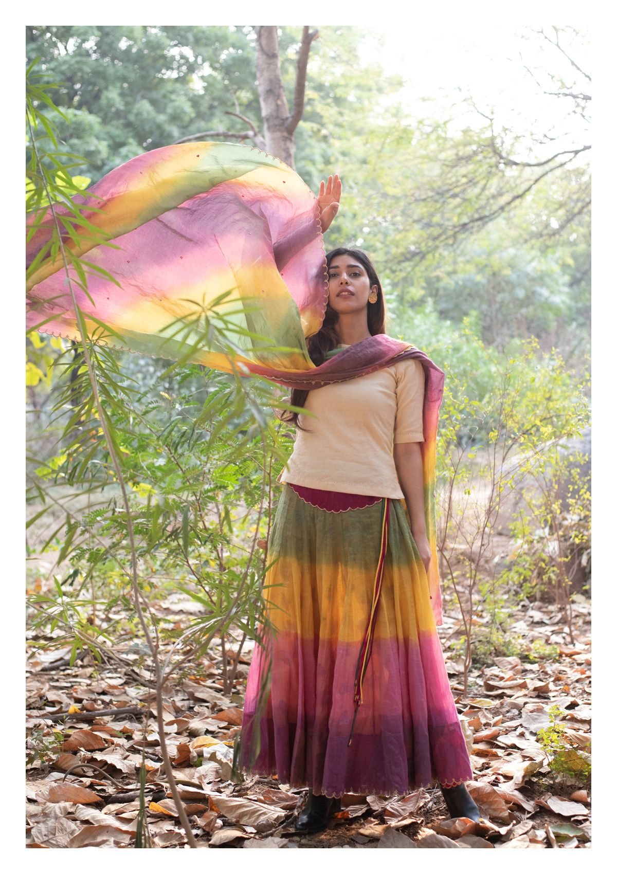 Raya Multicolour Tissue Chanderi Dupatta