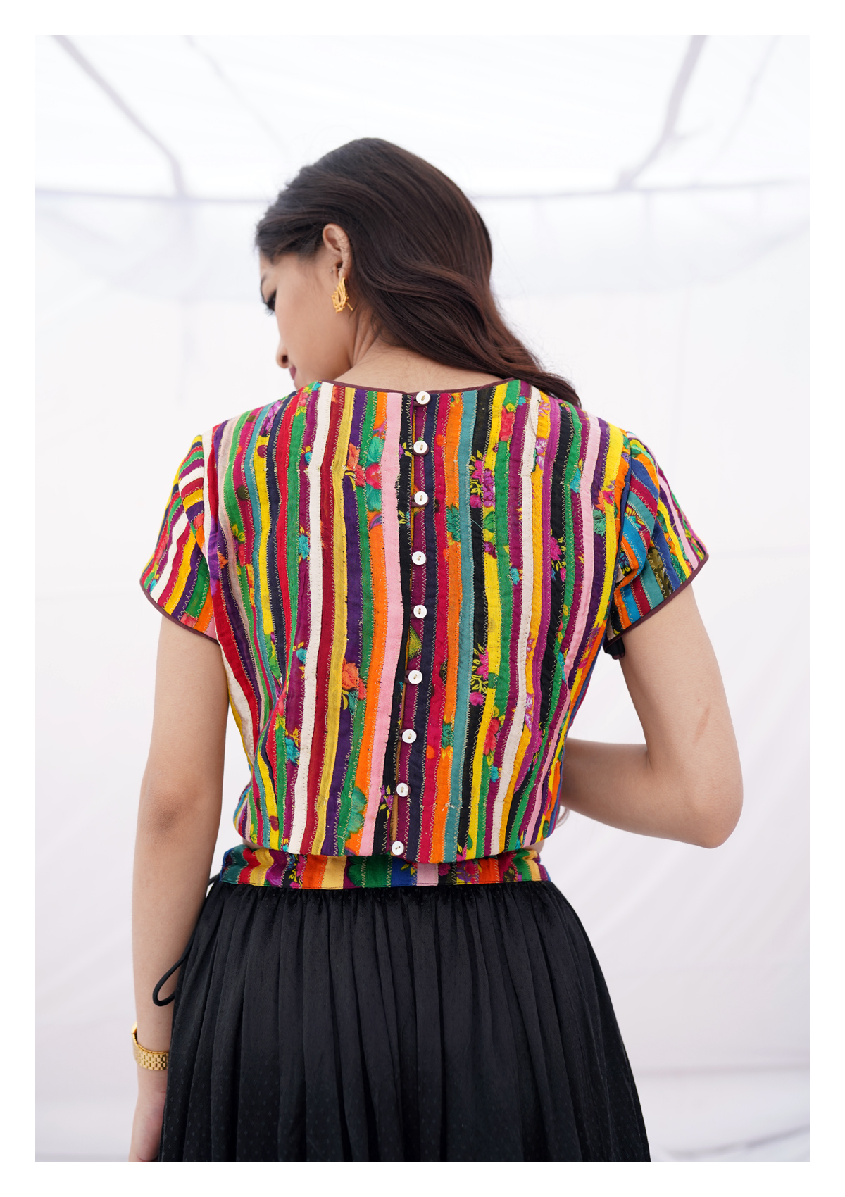 Ghamagham Textured Multicolor Crop Top