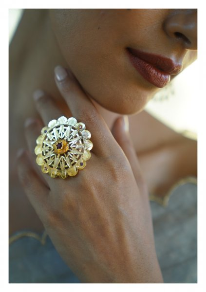 Aami Handmade Gold Tone Silver Ring