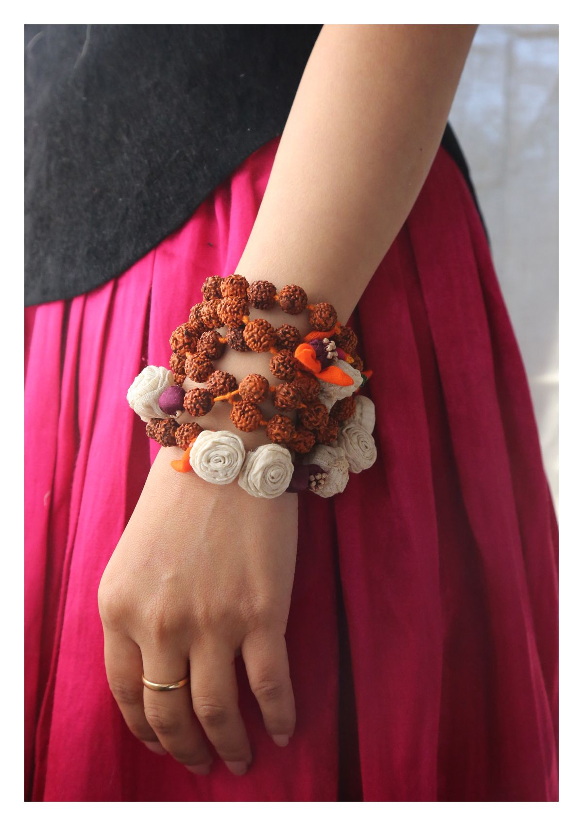 Sakhi Handmade Rudraksha Rose Necklace