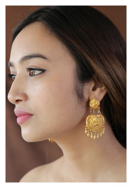 Jhumpa Handmade Gold Tone Silver Earrings