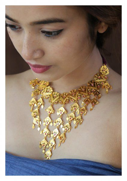 Shabnam Handmade Gold Tone Silver Necklace