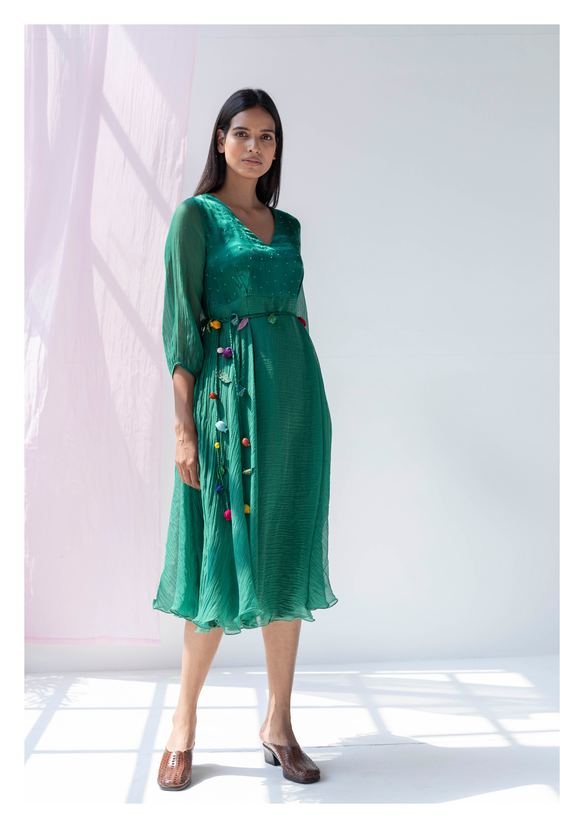 Zelena Green Chanderi Dress