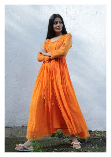Poppy Tangerine Chanderi Maxi Dress