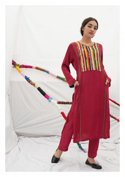 Harak Red Mashru Kurta Pants Set