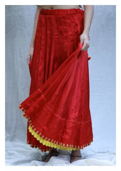 Scarlet Red Mashru Skirt