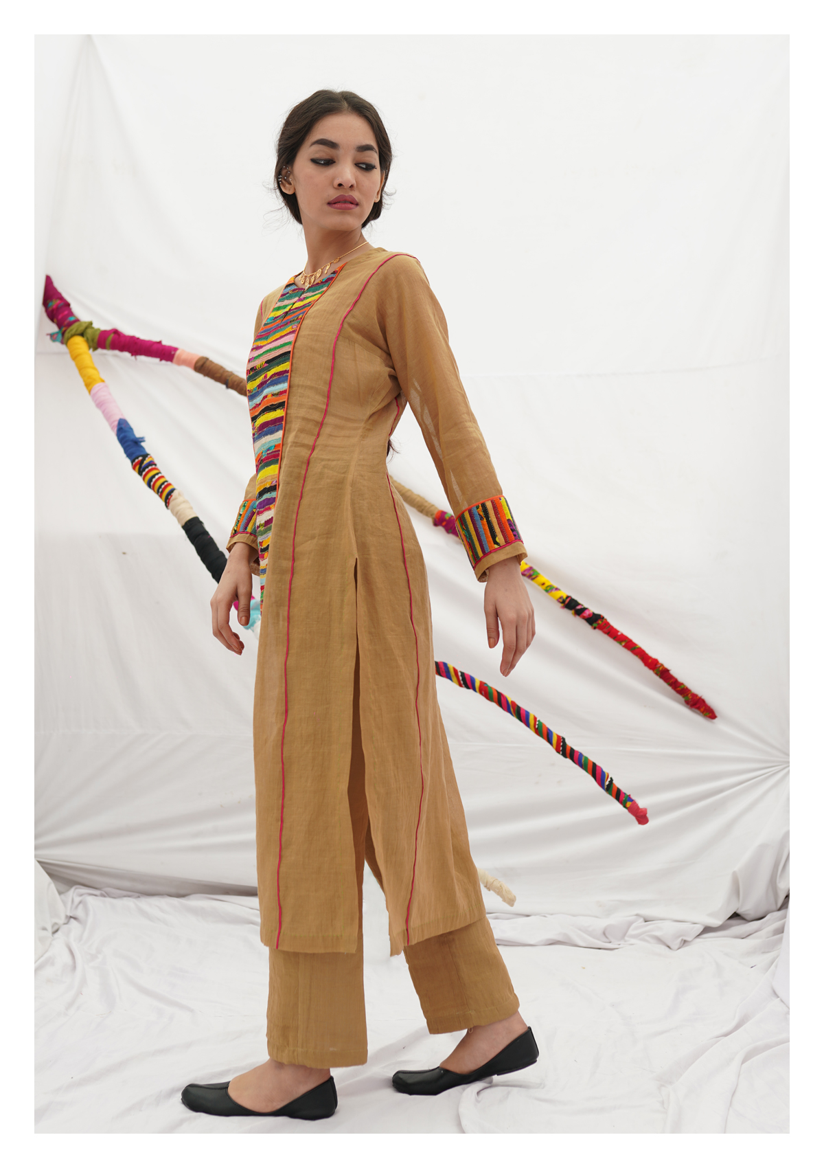 Tabariyo Camel Tissue Chanderi Kurta Pants Set