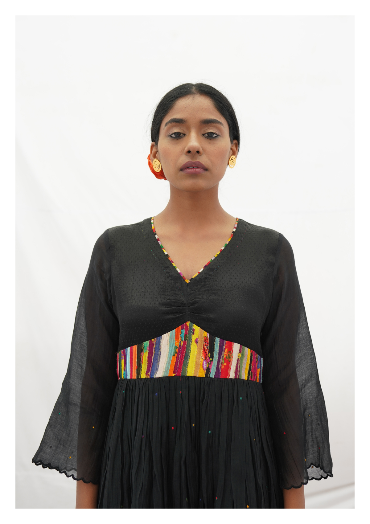 Ghoghi Black Mashru Silk Dress