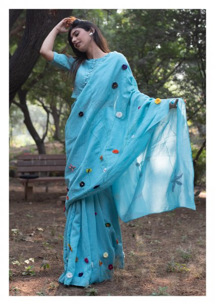 Riveria Blue Tissue Chanderi Saree