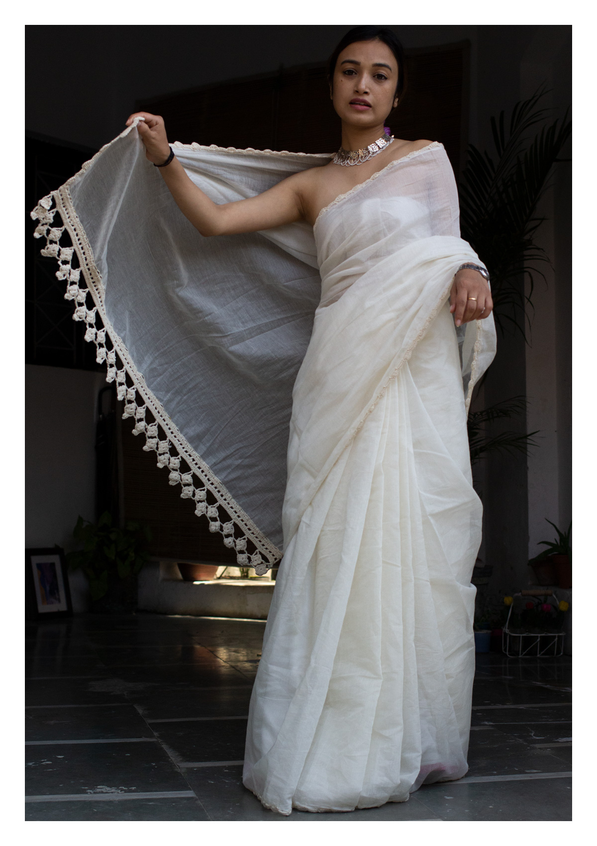 Shwet Chanderi Mul Saree