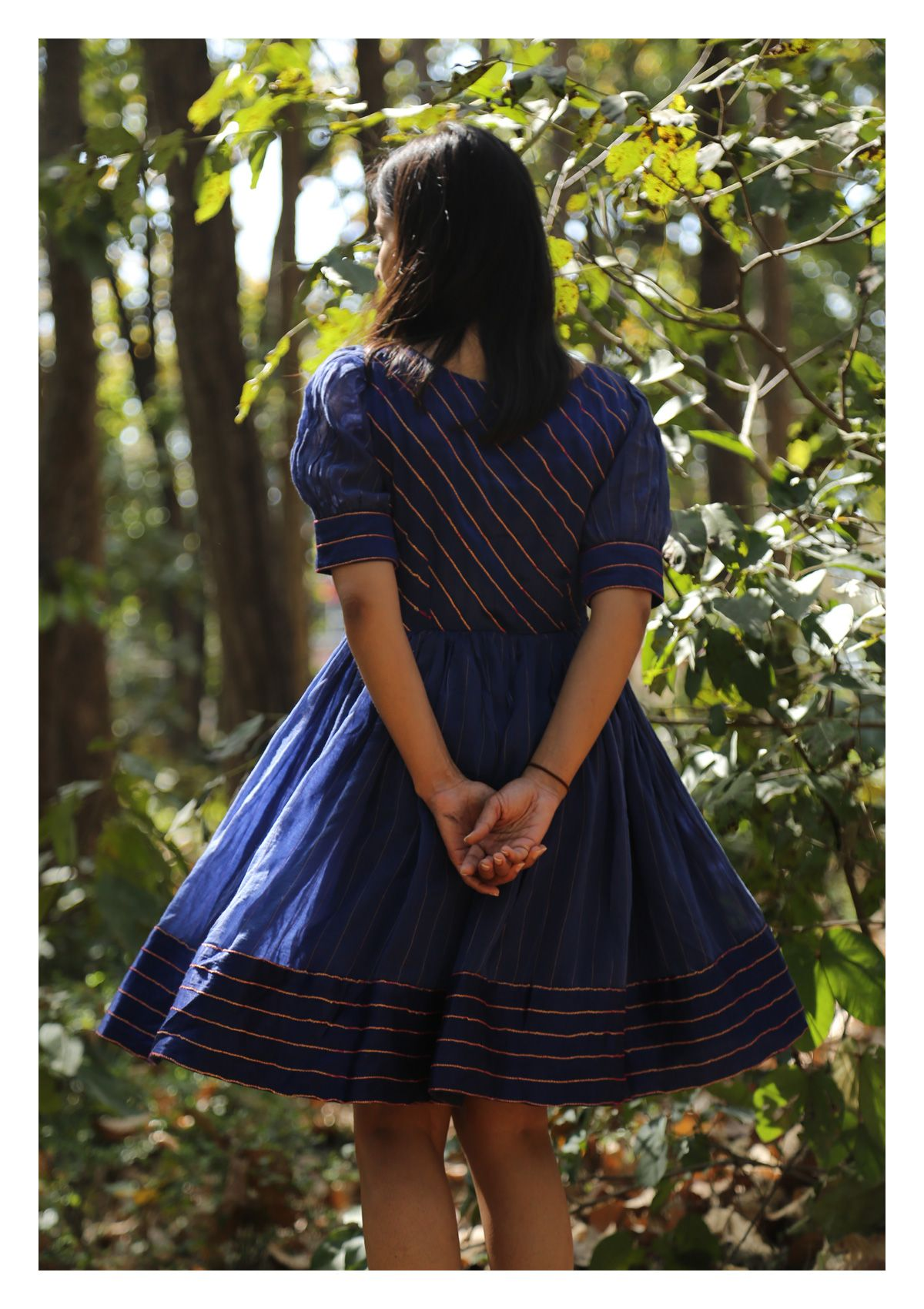 Deep Blue Sky Chanderi Dress