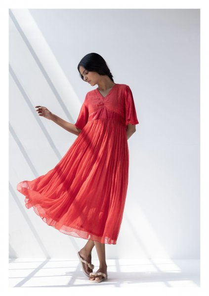 Anmar Red Chanderi Dress