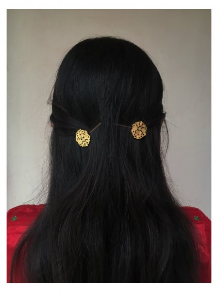 Parvat Gold Tone Silver Hairpins- Set of 2