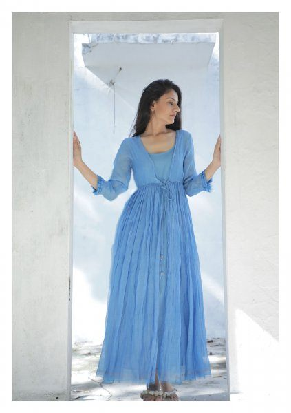 Iris Blue Chanderi Maxi  Dress