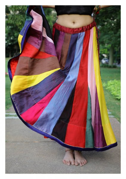 Chroma Multicolor Chanderi Skirt