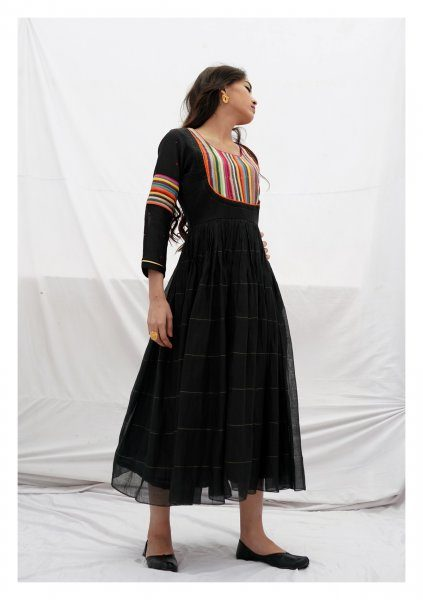 Sarum Black Chanderi Dress
