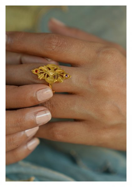 Shankhi Handmade Gold Tone Silver Ring