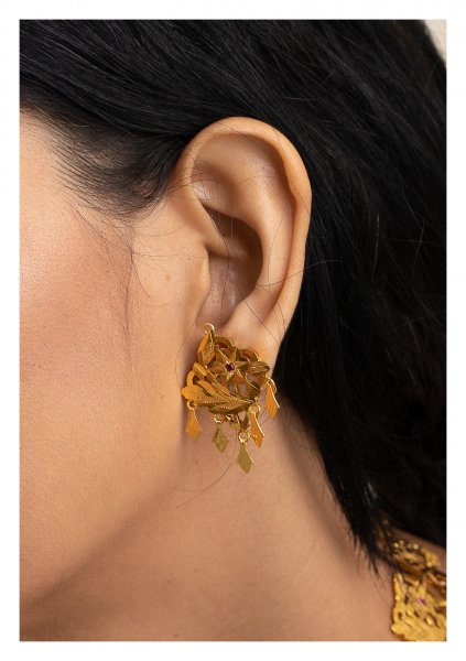 Aasira Handmade Gold Tone Silver Earrings