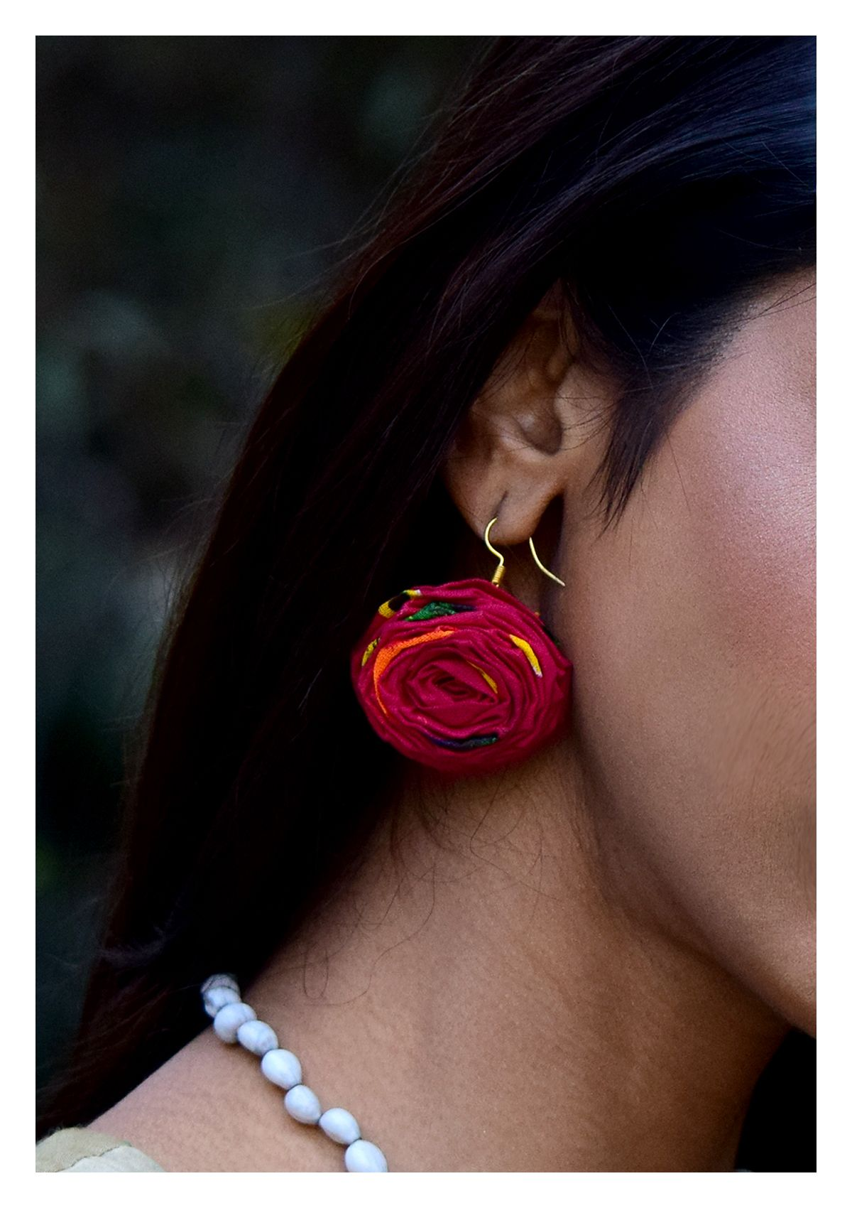 Cinola Red Rose Earrings