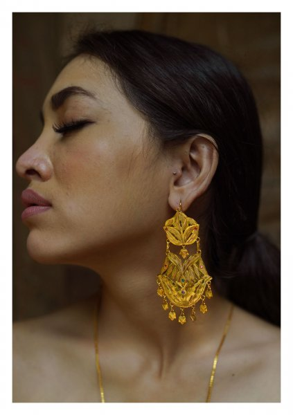 Afsha Handmade Goldtone Silver Earrings