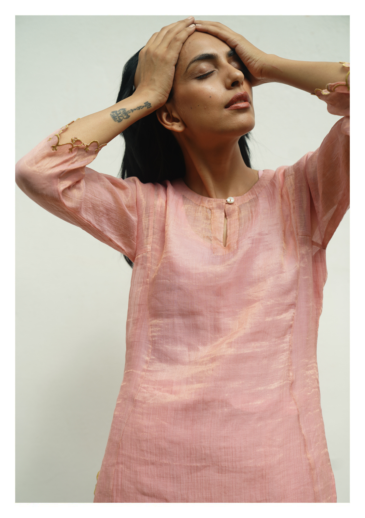 Yati Pink Tissue Chanderi Kurta Pants Set
