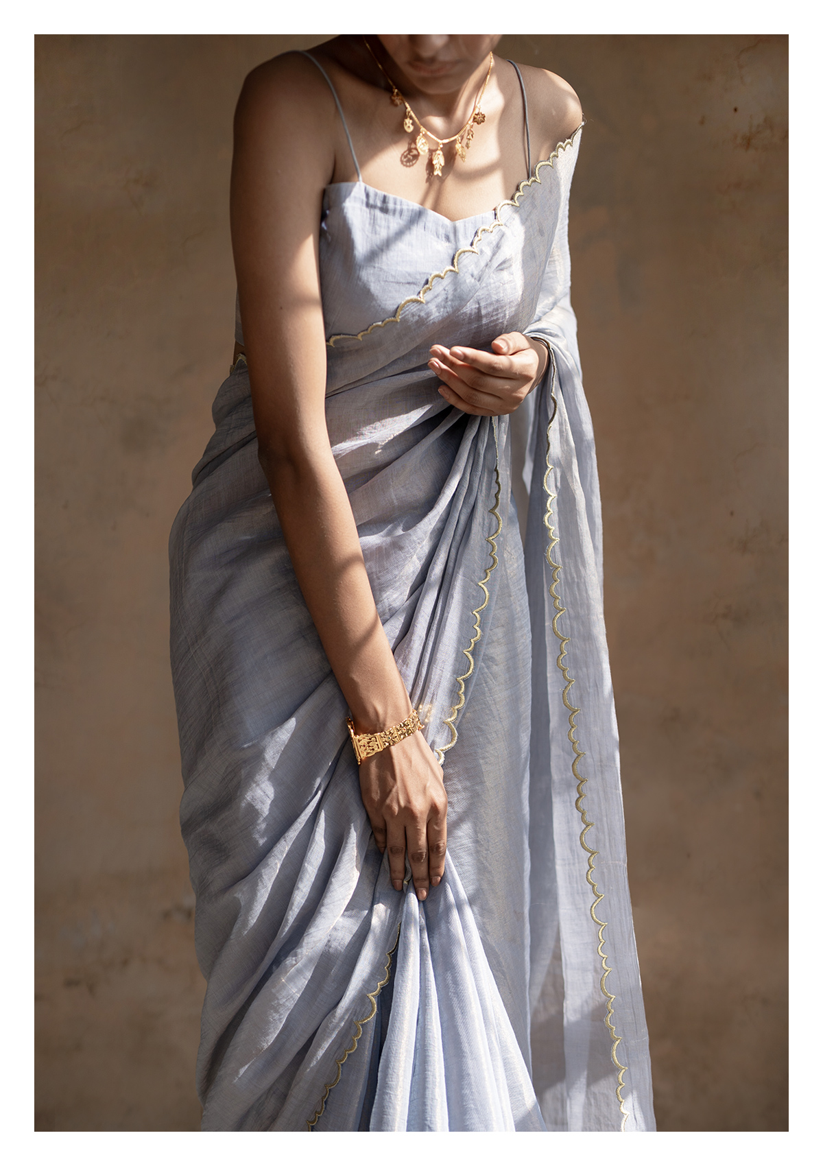 Ash Grey Tissue Chanderi Saree