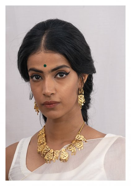 Kashti Gold Tone Silver Necklace & Earrings Set