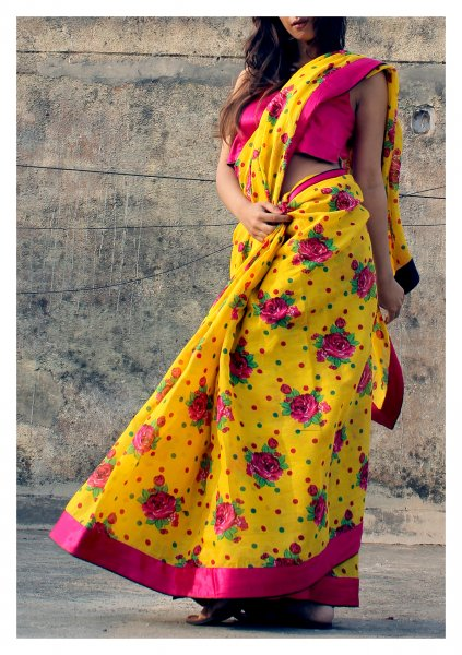 Tapti FLoral Chintz Cotton Saree