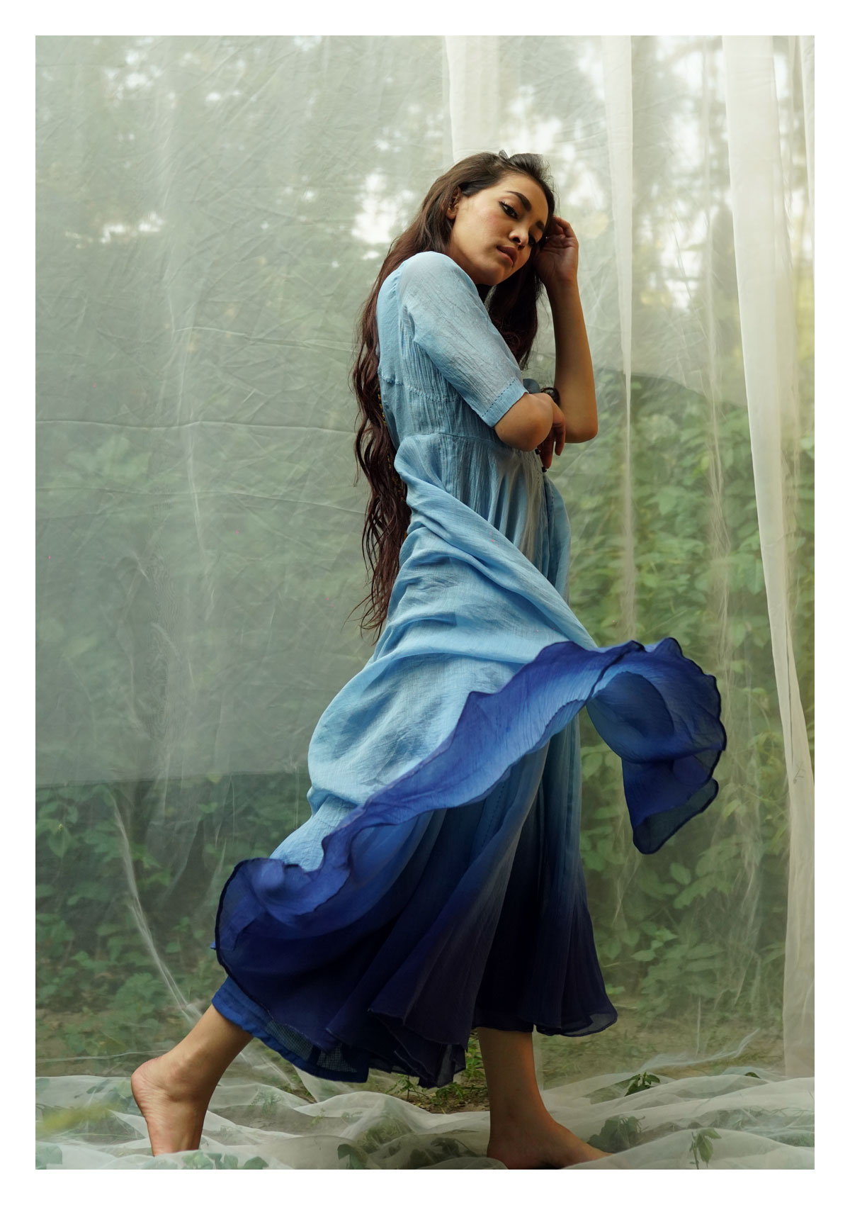 Bharangi Blue Chanderi Dress