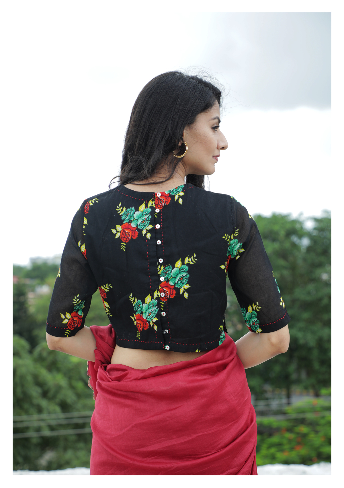 Chocolate Lilly Black Cheent Blouse