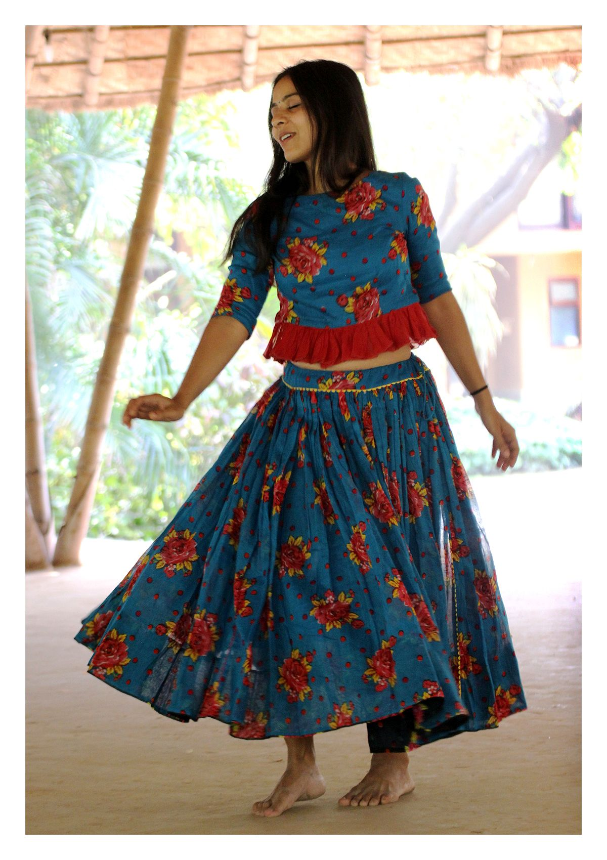 Nayari Turquoise Crop Top Ghagra Set