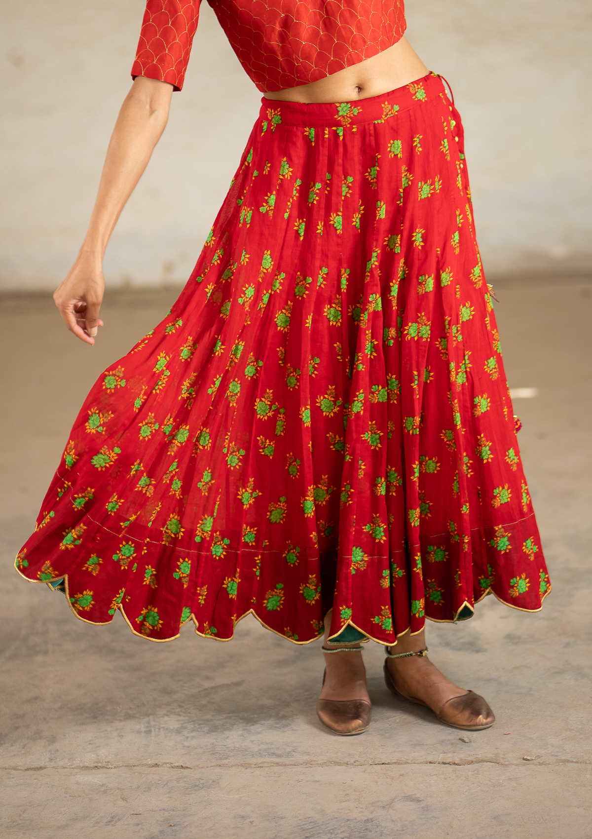 Seirein Red Ghagra Skirt