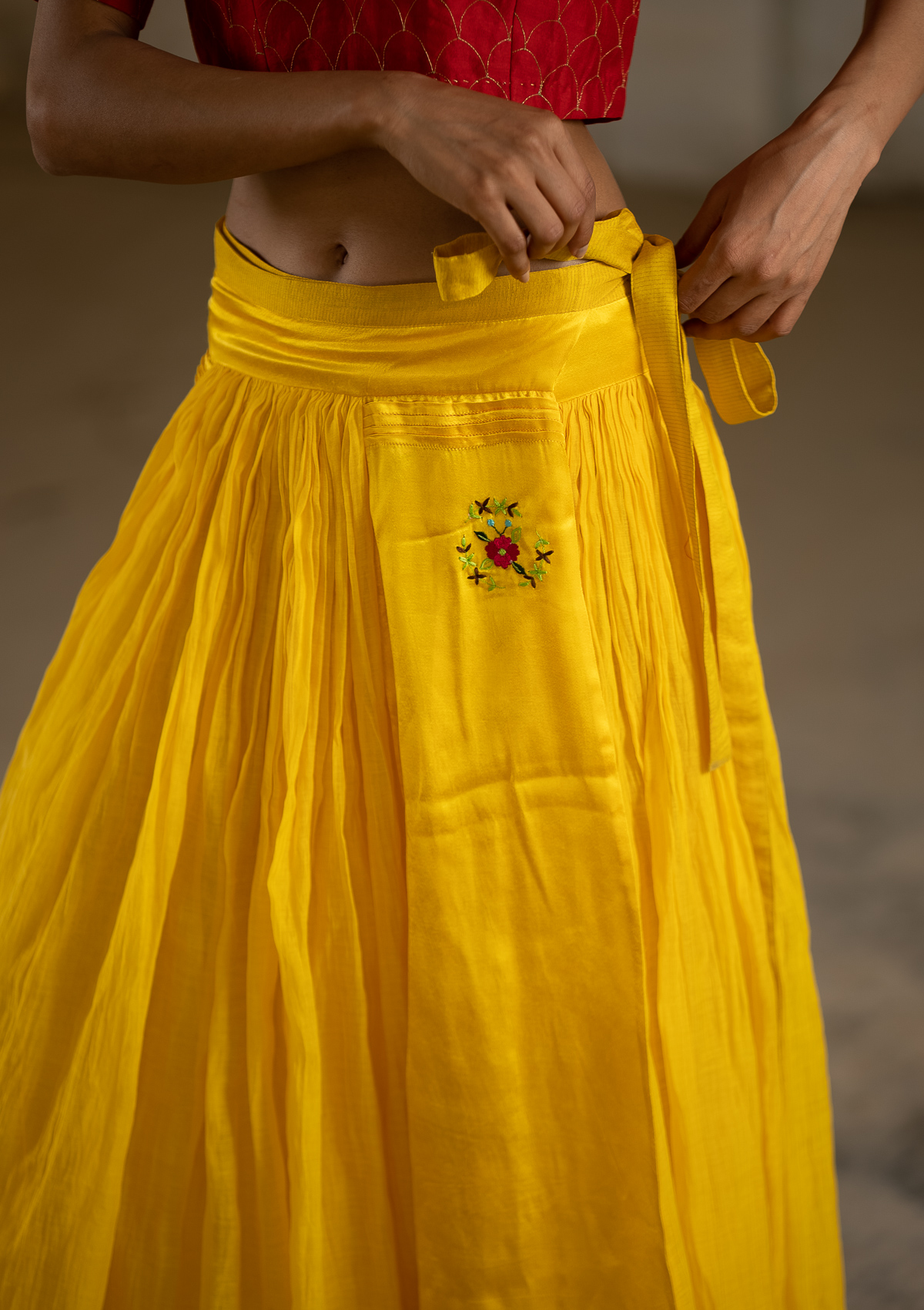 Lagom Yellow Reversible Wrap Skirt