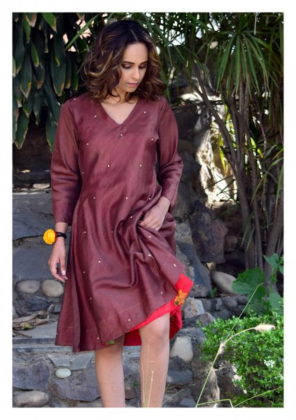 Westa Brown Chanderi Bias Dress