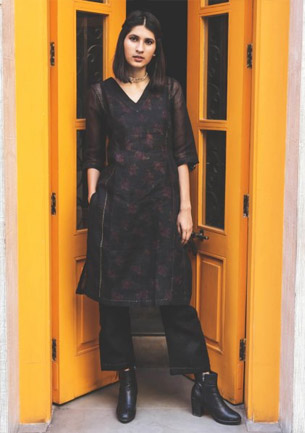Jamun Black Cotton Linen Kurta Pajama set